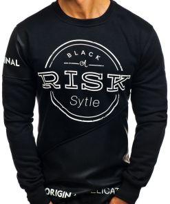 Bluza fara gluga cu imprimeu pentru barbat neagra Bolf J07