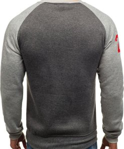 Bluza fara gluga cu imprimeu pentru barbat gri antracit Bolf J09