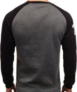 Bluza fara gluga cu imprimeu pentru barbat neagra-gri antracit Bolf J09