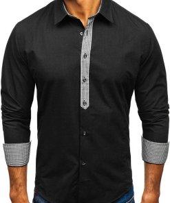 Camasa eleganta cu maneca lunga pentru barbat neagra Bolf 0939