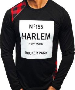 Bluza fara gluga cu imprimeu pentru barbat neagra-rosie Bolf 0756