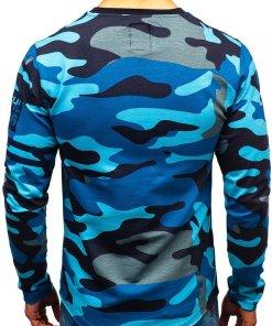 Bluza pentru barbat fara gluga cu imprimeu camuflaj-albastru Bolf 0743
