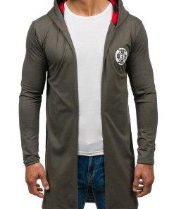 Bluza lunga cu gluga si imprimeu pentru barbat verde Bolf 452