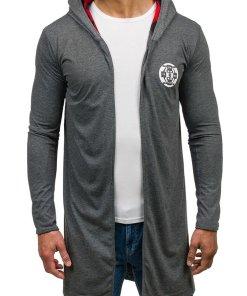 Bluza lunga cu gluga si imprimeu pentru barbat grafit Bolf 452
