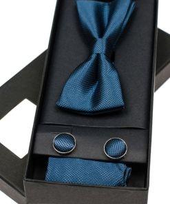 Set pentru barbat papion, butoni, batista bluemarin Bolf MSP01