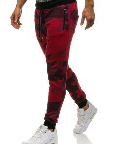 Pantaloni joggers sportivi pentru barbat camuflaj-rosii Bolf 0917
