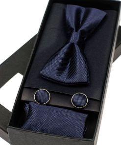 Set pentru barbat papion, butoni, batista albastru-cerneala Bolf MSP01