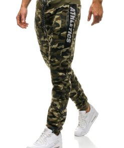 Pantaloni joggers sportivi pentru barbat camuflaj-verzi Bolf QN267