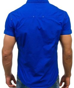 Camasa pentru barbat cu maneca scurta albastra Bolf 3275