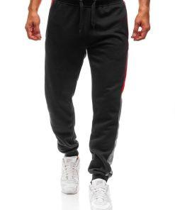 Pantaloni sweatpants joggers pentru barbat negri Bolf KZ10