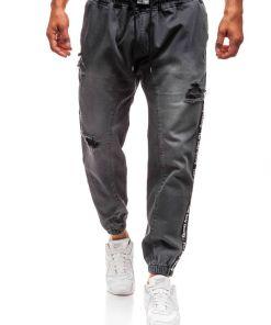 Jeansi baggy pentru barbat gri-deschis Bolf 2045