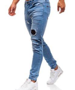 Jeansi joggers pentru barbat albastri-deschis Bolf 2036