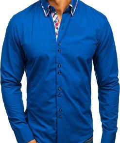 Camasa eleganta pentru barbat cu maneca lunga albastra-deschisa Bolf 4704-1