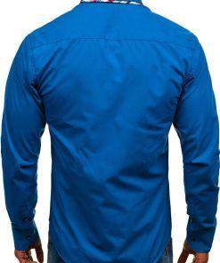 Camasa eleganta pentru barbat cu maneca lunga albastra Bolf 4704-1