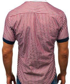 Camasa eleganta pentru barbat in carouri cu maneca scurta bordo Bolf 4501