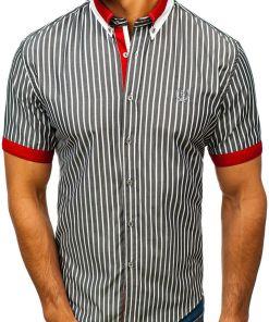 Camasa eleganta pentru barbat in carouri cu maneca scurta gri Bolf 4501
