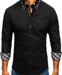 Camasa eleganta cu maneca lunga pentru barbat neagra Bolf 2701