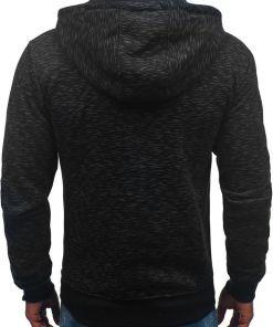Bluza cu gluga si fermoar pentru barbat neagra Bolf 33025