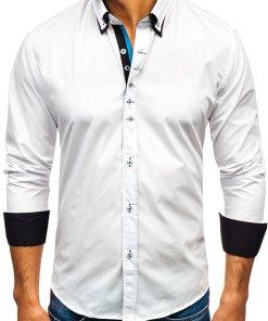 Camasa eleganta cu maneca lunga pentru barbat alba Bolf 3708