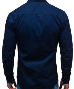 Camasa eleganta cu maneca lunga pentru barbat bleumarin Bolf 2701-1
