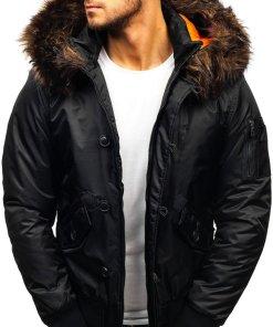 Geaca de iarna pentru barbat neagra Bolf 99123