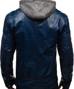 Geaca de piele pentru barbat bleumarin Bolf ex706
