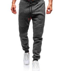 Pantaloni pentru barbati sportivi jogger gri-antracit-portocaliu Bolf Q3770