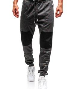 Pantaloni pentru barbati sportivi jogger grafit Bolf Q3854