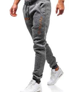 Pantaloni pentru barbati sportivi jogger grafit Bolf Q3507