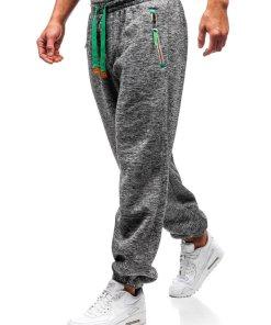 Pantaloni pentru barbati sportivi jogger gri-verde Bolf Q3520