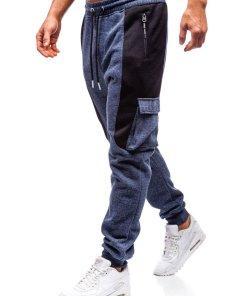 Pantaloni jogger sportivi pentru barbati bleumarin Bolf Q3774