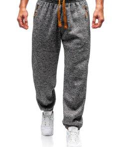 Pantaloni jogger sportivi pentru barbati gri-maro Bolf Q3521