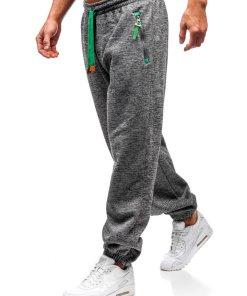 Pantaloni jogger sportivi pentru barbati gri-verde Bolf Q3521