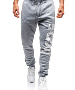 Pantaloni jogger sportivi pentru barbati gri Bolf Q3727