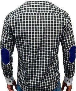 Camasa eleganta in carouri barbati cu maneca lunga neagra Bolf 5737-A
