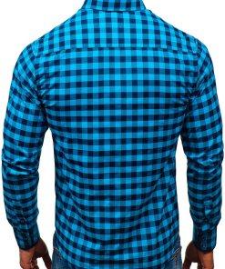 Camasa in carouri barbati albastru-marin Bolf 5816-A