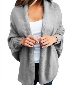 BL1006-18 Cardigan tricotat cu maneci lungi tip liliac