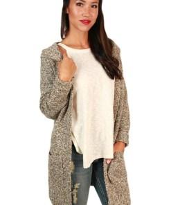 BL997-14 Cardigan tricotat, accesorizat cu buzunare si gluga