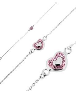 Bijuterii eshop - Bratara argint - inima roz cu umplutur? si zircon roz T9.10