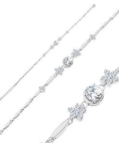 Bijuterii eshop - Bratara din argint 925, zale bobi?e lucioasa, flori din zirconii rotunda si transparente R35.23