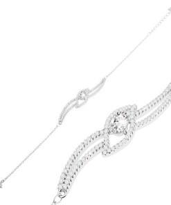 Bijuterii eshop - Bratara din argint 925, zirconiu oval transparent în linii unduite cu zirconii stralucitoare SP49.23