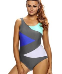 SW1493-184 Costum de baie intreg cu decolteu rotund si imprimeu color block