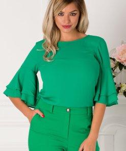Bluza LaDonna verde cu volane la maneci