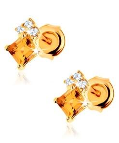 Bijuterii eshop - Cercei cu surub din aur galban 9K - citrin p?trat, zirconii transparente GG61.26