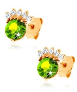 Bijuterii eshop - Cercei cu surub din aur galban 9K - olivin? rotunda de culoare verde, coroan? transparent? GG62.14