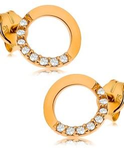 Bijuterii eshop - Cercei din aur 375 - contur cerc cu jum?tate cu zirconii transparente, 7 mm GG42.05