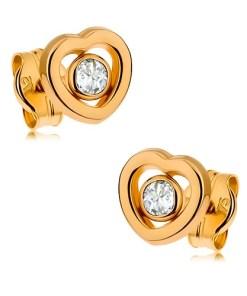 Bijuterii eshop - Cercei din aur 375 - contur de inima simetrica, zirconiu transparent în mijloc GG42.07