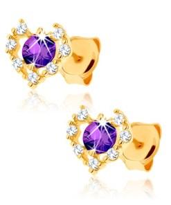 Bijuterii eshop - Cercei din aur 375 - contur de inima zirconii transparente, ametist violet GG62.15