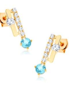 Bijuterii eshop - Cercei din aur 375 - doua dungi, topaz albastru stralucitor, zirconii transparente GG63.24