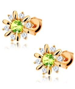 Bijuterii eshop - Cercei din aur 375 - floare decorat? cu zirconii verde deschis si zirconii transparente GG63.23